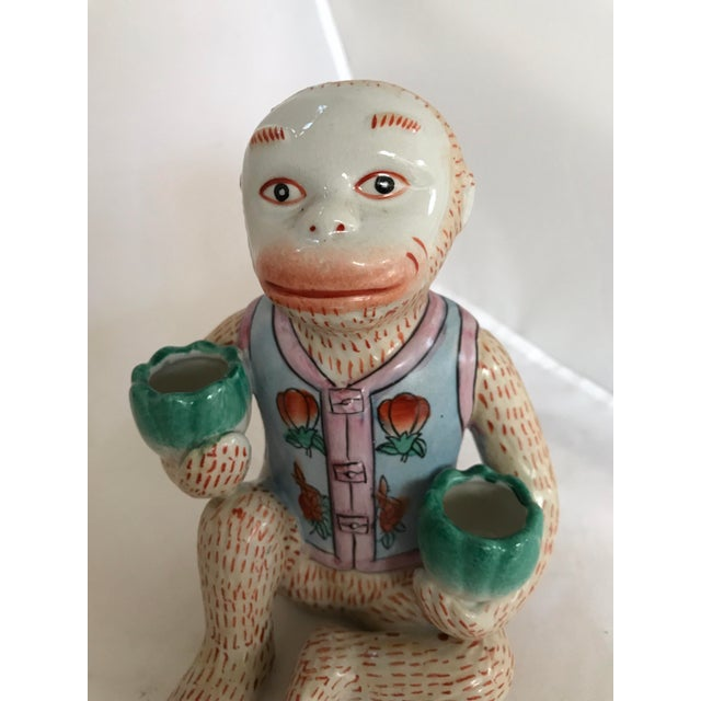Vintage Chinese Ceramic Monkey Gardener Seated - a Pair For Sale In Miami - Image 6 of 11