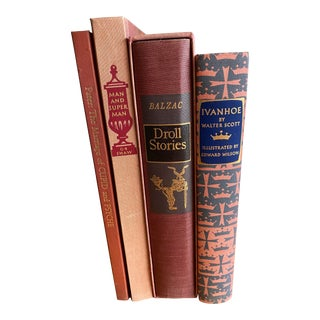 Illustrated Heritage Press Classics Warm Tone Bindings, Gold Leaf Stamping - Set of 4 For Sale