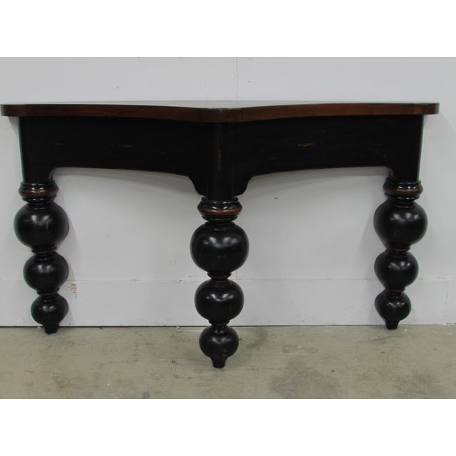 A Vintage Thin French Country Console Table in an ebonized & fruit-wood stain. The Table is Rustic with heavy distressing,...
