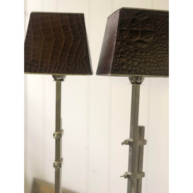 Pair of Adjustable Height Chrome Lamps With Leather Shades For Sale - Image 9 of 13