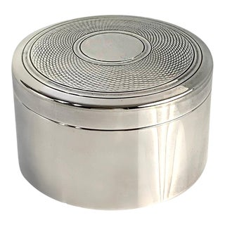 Puiforcat French Art Deco Round Silver Plate Box For Sale