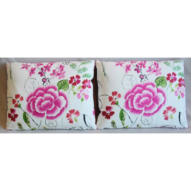 """Pair of custom-tailored reversible pillows in unused French linen fabric called """"Mathilda"""" from Manuel Canovas Fabrics...."""