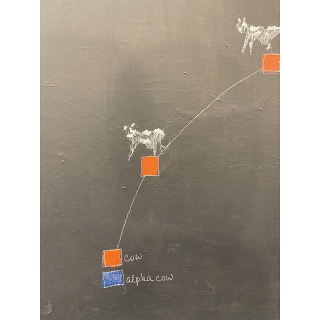"""""""Alpha Cow"""" Contemporary Minimalist Abstract Acrylic Painting on Canvas For Sale - Image 4 of 7"""