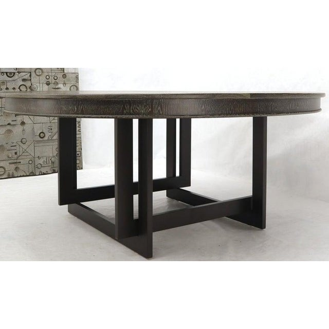 Large Oversize in Diameter Round Cerused Limed Oak Dining Table For Sale - Image 9 of 13