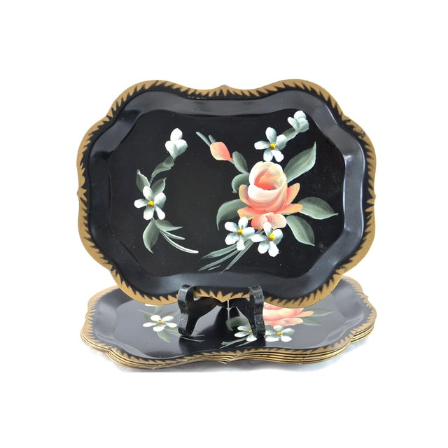 Hand-Painted Tole Trays - Set of 6 For Sale