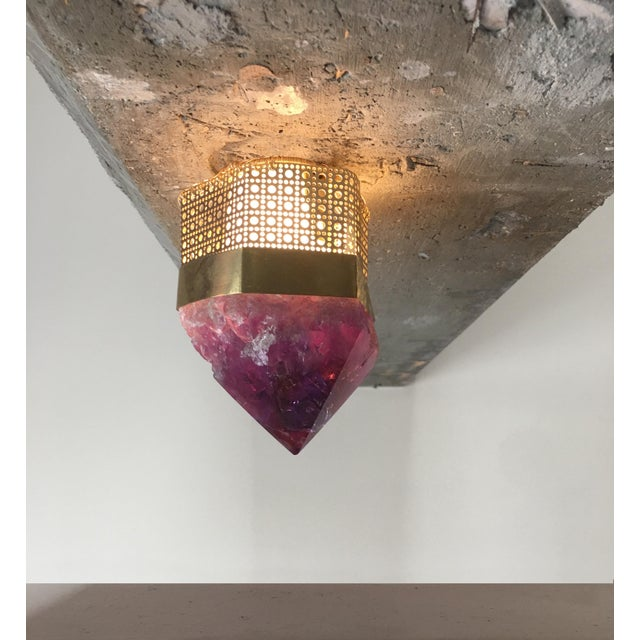 Contemporary Customizable Semi-Precious Light Fixture For Sale - Image 3 of 4