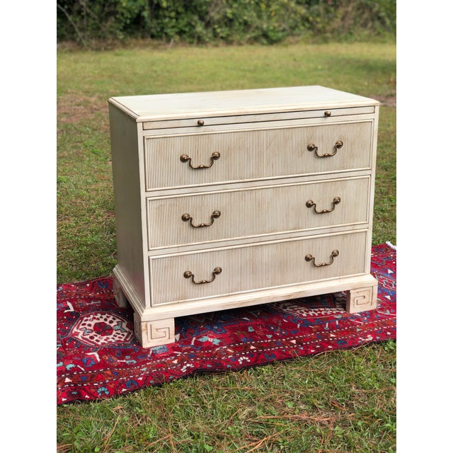 Hickory White Chest With Flutted Drawers and Greek Key Legs For Sale - Image 11 of 13