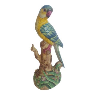 Vintage Handpainted Chinese Porcelain Parrot For Sale