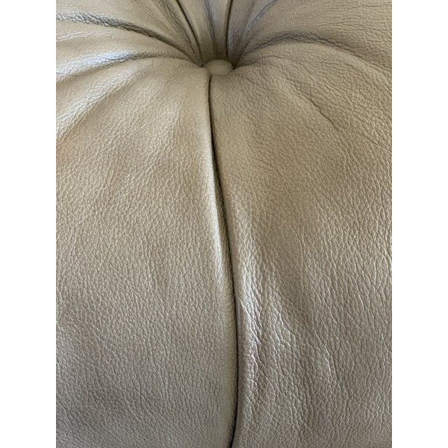 "Leather Thomasville Leather ""Regatta"" Ottoman For Sale - Image 7 of 11"