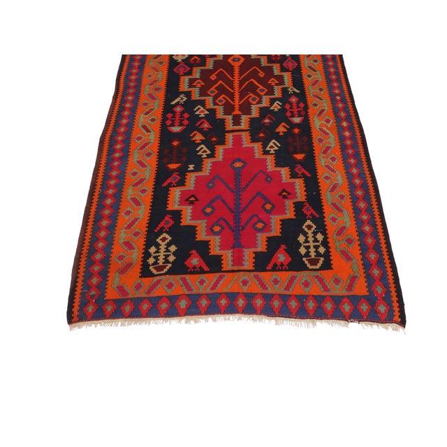 "Boho Chic Vintage Persian Tribal Kilim Rug Runner - 5'3"" X 11'3"" - Image 5 of 6"