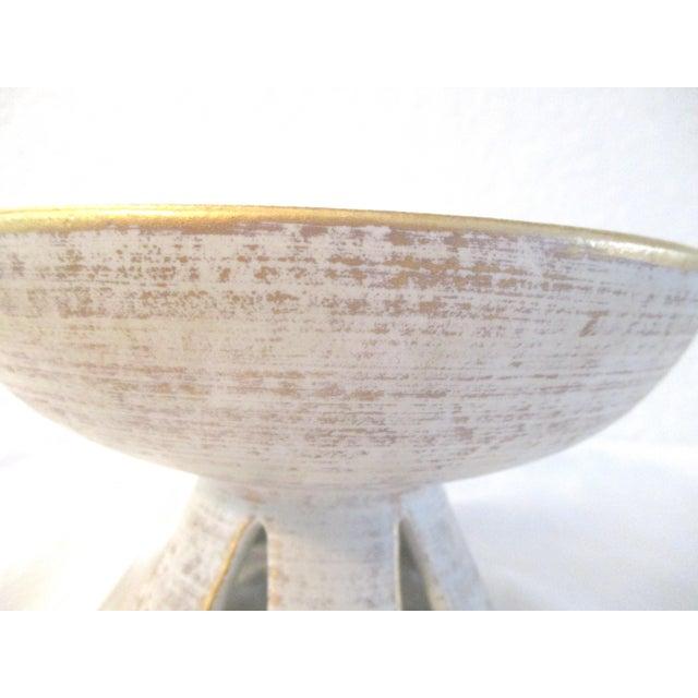 Ceramic Danish Modern White & Gold Vase & Bowl For Sale - Image 7 of 10