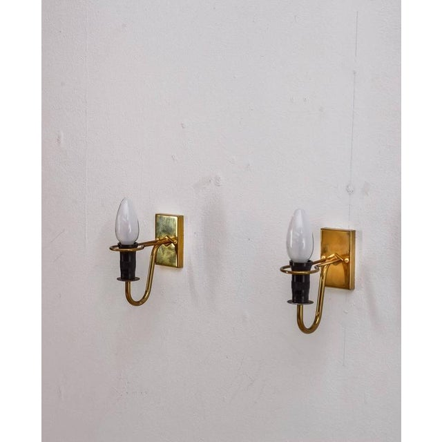 Modern Asea brass and opaline glass bedside wall lamps, Sweden, 1950s For Sale - Image 3 of 6