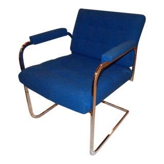 Patrician Milo Baughman Style Chrome Armchair