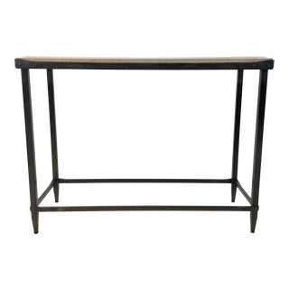 Currey & Co. Industrial Modern Concrete and Iron Elemental Console Table For Sale