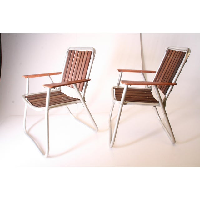 Adirondack Mid Century Redwood Aluminum Folding Patio Chairs - A Pair For Sale - Image 3 of 11
