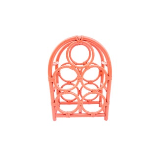 Vintage Coral Bamboo Rattan Freestanding 5-Slot Bottle Rack Tropical Chic Wine Holder Chinoiserie Barware Hollywood Regency Home Decor For Sale