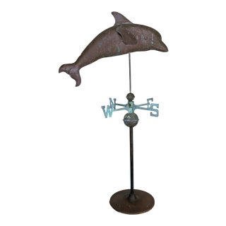 Dolphin Copper Weathervane on Iron Base For Sale