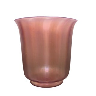 Steuben Oriental Pink Iridescent Poppy Glass Vase For Sale