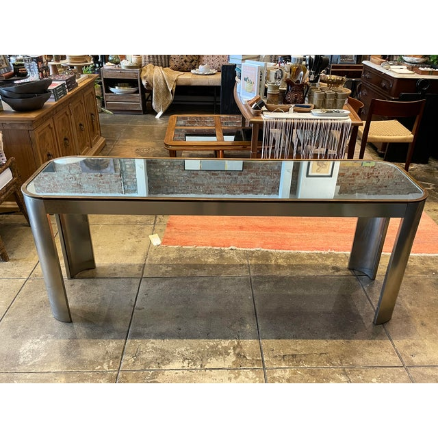1970s Chrome and Mirror Console Table For Sale - Image 13 of 13