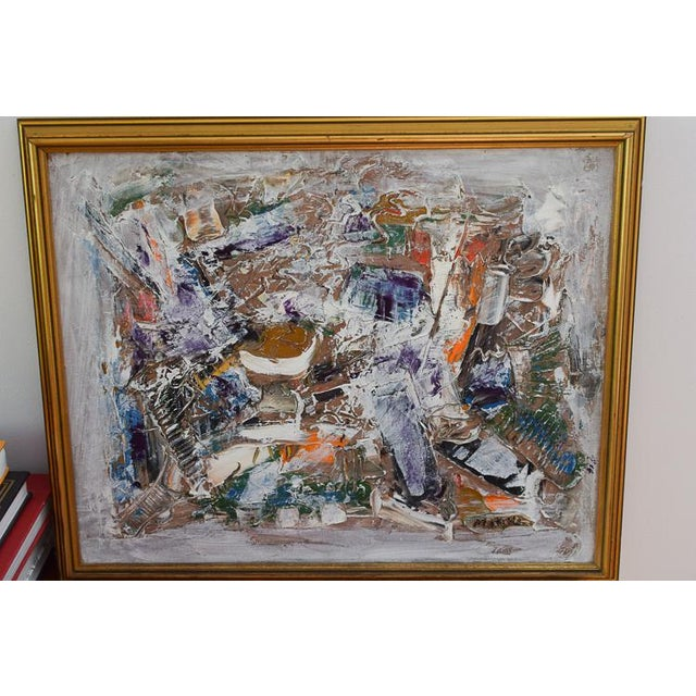 Neo Impressionism Abstract Signed Oil Painting For Sale - Image 10 of 10