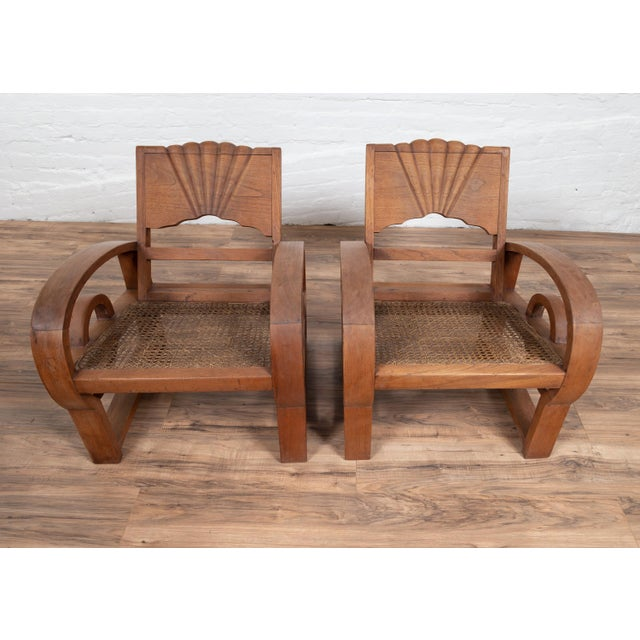 Wood Teak Wood Country Chairs From Madura With Rattan Seats and Looping Arms - a Pair For Sale - Image 7 of 13