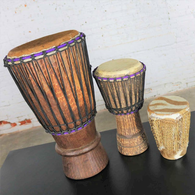 Trio of Tribal Drums Carved Wood and Animal Hide For Sale - Image 6 of 13