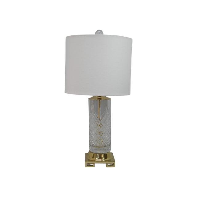 Vintage Brass Greek Key Base & Crystal Lamp For Sale
