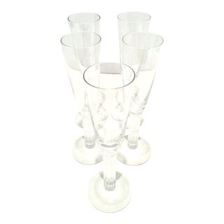 """1990's French Crystal Champagne Flute """"Lyra"""" By Baccarat - Set of 5 For Sale"""