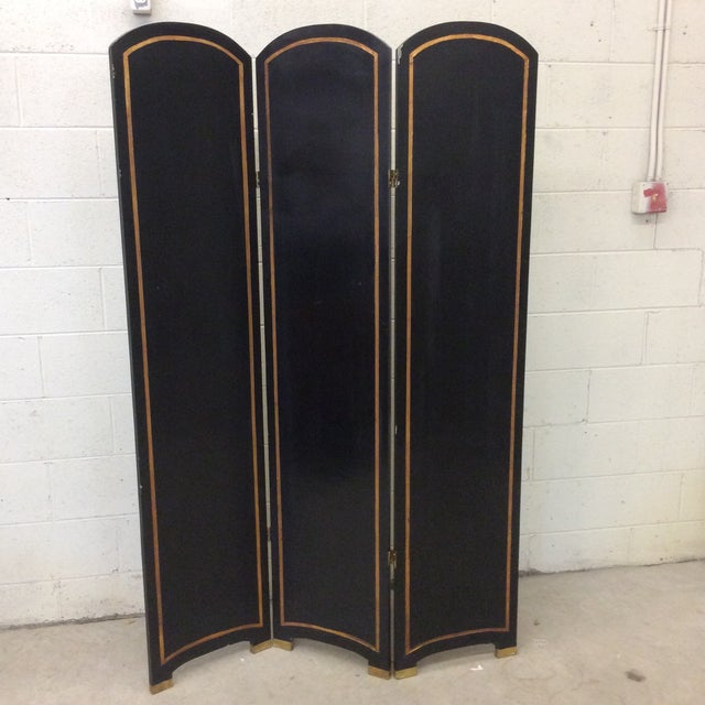 Black Lacquer & Gold Leaf Chinoiserie Wood Carved 3-Panel Screen Room Divider For Sale In Richmond - Image 6 of 11