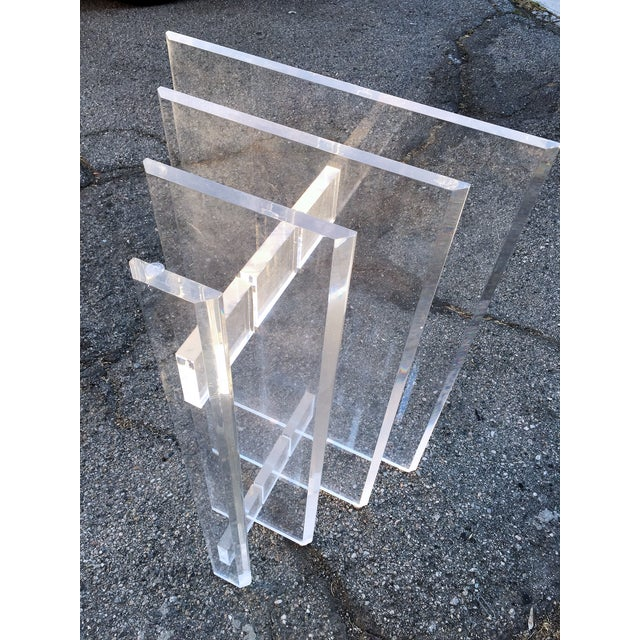 Lucite Sculptural Base Dining Table - Image 4 of 6