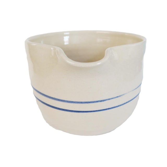 Marshall Potter Vintage White and Blue Striped Pottery Stoneware Crock Batter Pitcher Mixing Bowl For Sale - Image 4 of 5