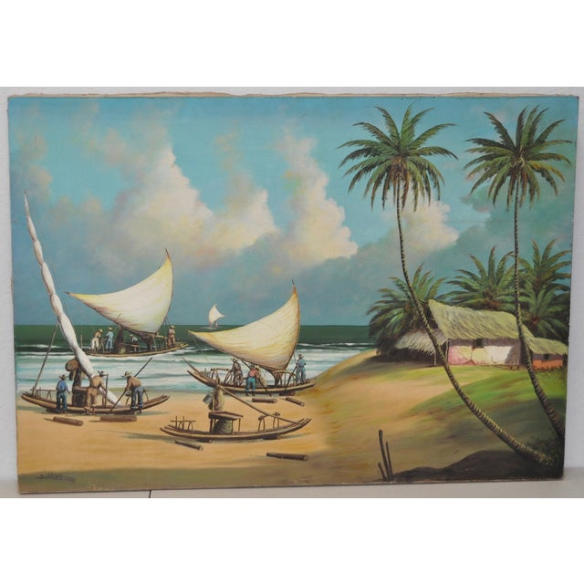 Vintage Island Oil Painting by Balikian - Image 2 of 8