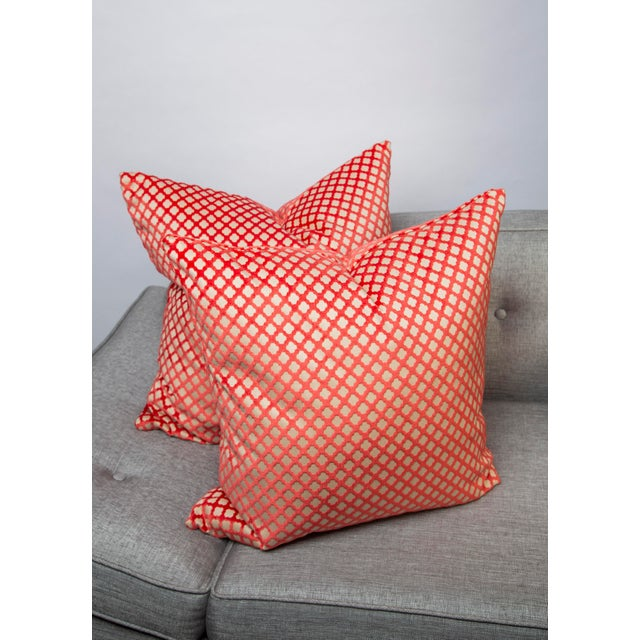 "22"" X 22"" Velvet Scalamandre Pomfret Down Pillows For Sale In Raleigh - Image 6 of 8"