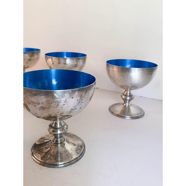 Mid 20th Century Vintage Set of 6 W & S Blackinton Silverplate Blue Enamel Dessert Dishes For Sale - Image 5 of 6