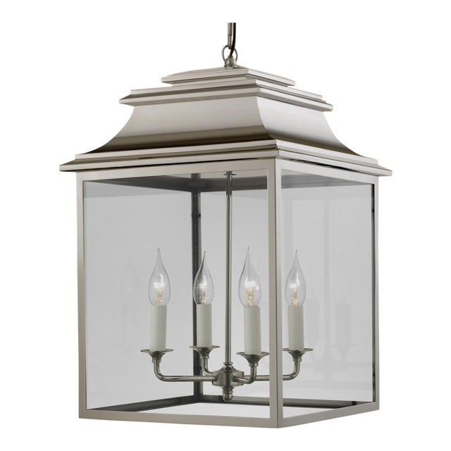 Mid-Century Modern 4 Candle Polished Nickel Lantern For Sale - Image 3 of 4