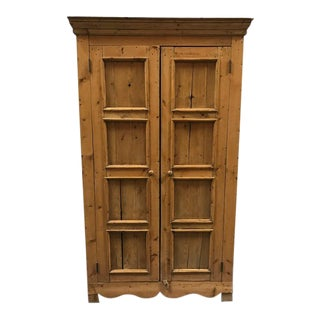 1940s French Country Pine Wardrobe For Sale