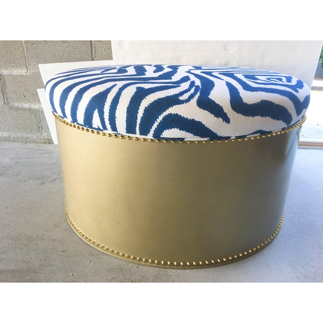 Show sample. Beautiful Navy & white fabric adorns a gleaming gold base. Fabric is Zebra Marina by Lacefield Designs. Gold...