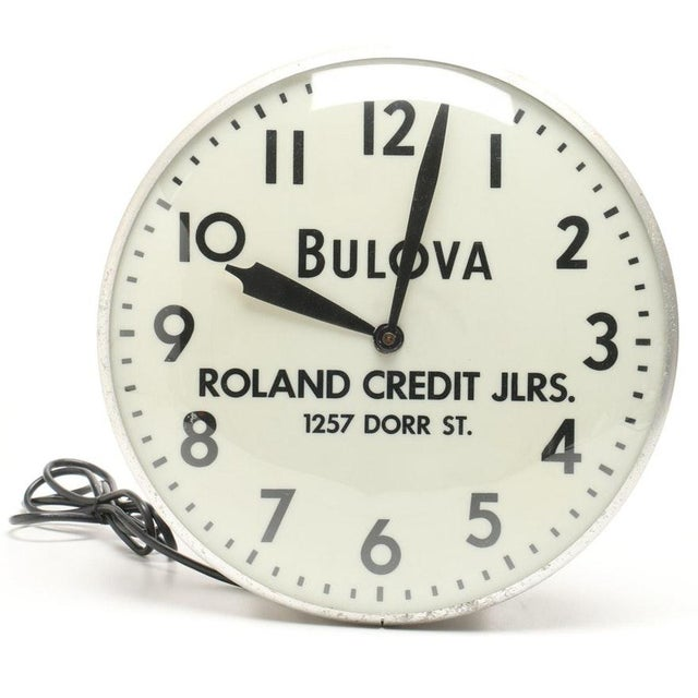 White Bulova Advertising Wall Clock For Sale - Image 8 of 8