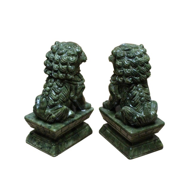 Chinese Green Stone Carved Foo Dog Fengshui Figures - a Pair For Sale - Image 4 of 7