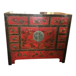 Antique Asian Red and Black Painted Cabinet For Sale