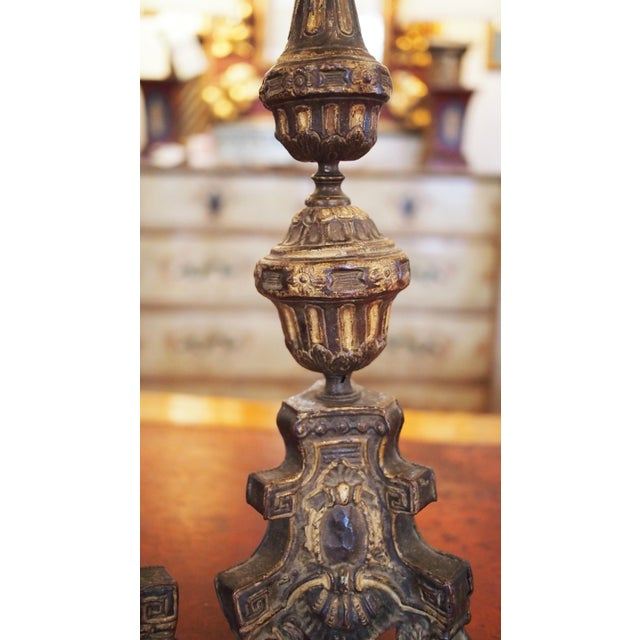 Early 18th Century Louis XIV Style Tole Candlesticks For Sale - Image 5 of 11