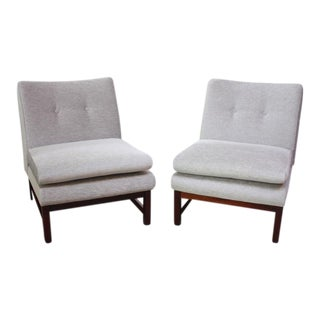 Pair of Danish Slipper Chairs in Chenille and Rosewood For Sale