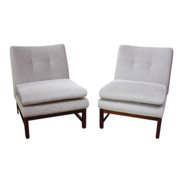 Pair of Danish Slipper Chairs in Chenille and Rosewood - Image 1 of 10