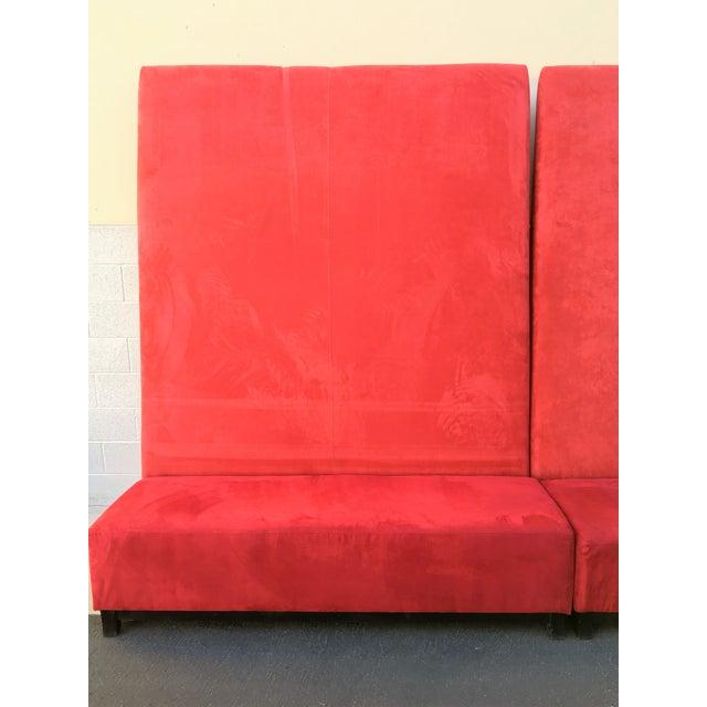 High-Back Red Velvet Benches - Set of 3 - Image 4 of 9
