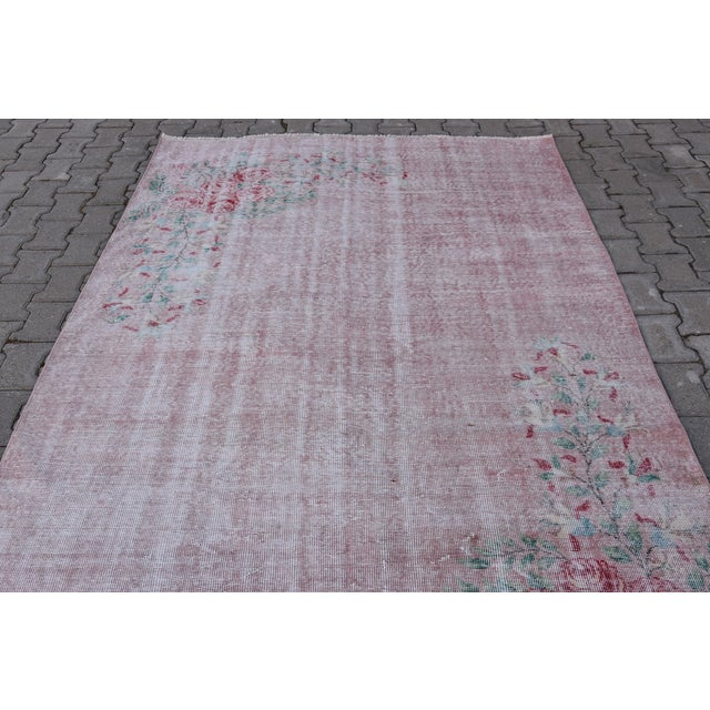 None Antique Handmade Faded Area Rug - 5′8″ × 8′7″ For Sale - Image 4 of 9