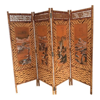 Vintage Tiger Bamboo Double Sided Privacy Screen For Sale