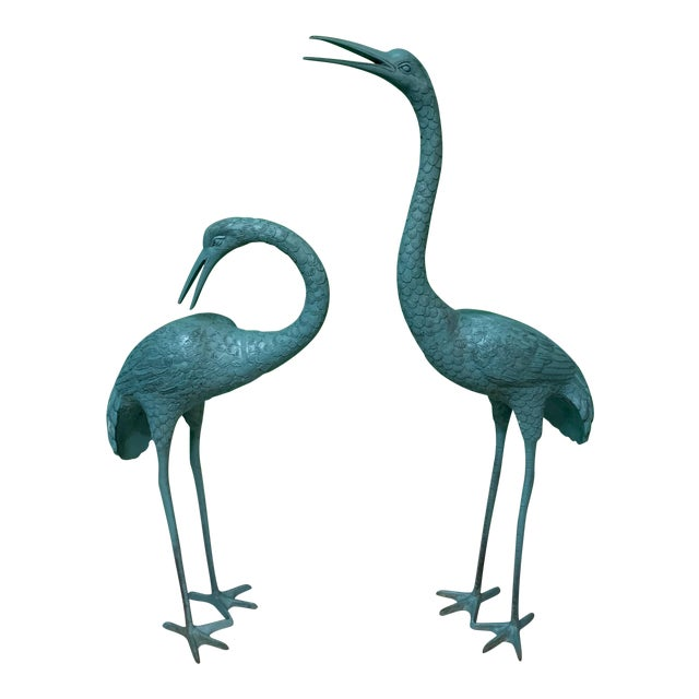Large Steel Egret Bird Statues, a Pair For Sale