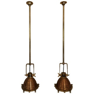 Brass and Copper Nautical Pendant Lights, Pair For Sale