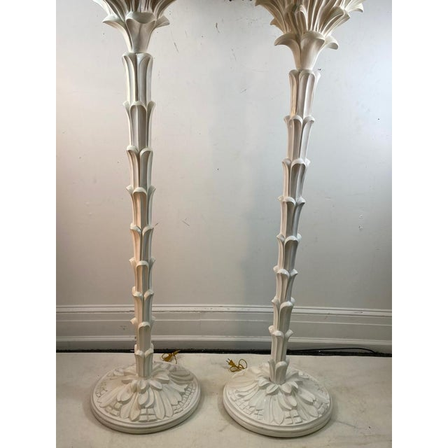 Exceptional Pair of Carved Wood Floor Lamps in the Manner of Serge Roche For Sale In Philadelphia - Image 6 of 11