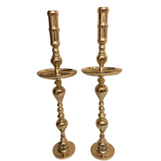 Antique Architectural Gothic Church Paschal Alter Brass Candlesticks - A Pair For Sale